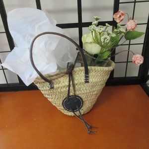 """MUD ROOM Wicker and Leather Basket 6""""H"""